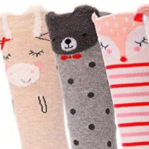 """NEW BOUTIQUE 3 PAIR """"MY FURRY FRIENDS"""" SOCKS"""